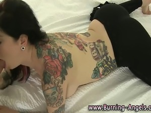 Watch this tattooed goth slut sucking and fucking pov style