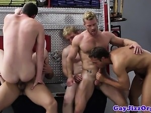 Muscled firemen hardcore group banging