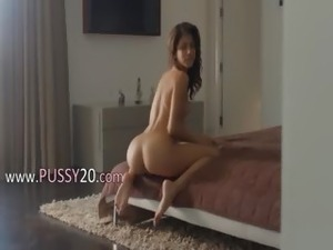 Wet orgasm of exotic beauty undressing