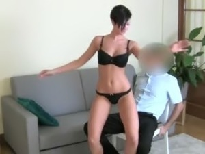 Horny brunet girl fucking on the chair