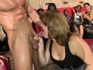 Gorgeous women sucking big dicks left and right