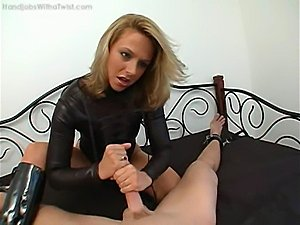 glove fingering pussy leather