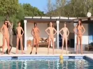 Six naked girls by the pool from poland free