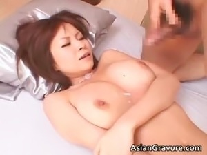 Busty asian hottie gives blowjob part2