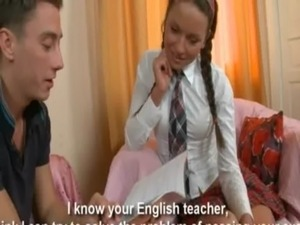 Brunette beauty schoolgirl Angela in her hot anal lesson free