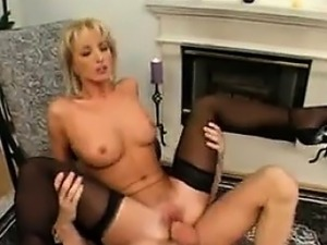 Sexy Blonde Wearing Stockings Does Anal