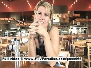 Desiree hot blonde babe talking in a diner