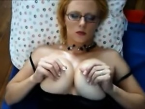 girl rubbing boobs on glass