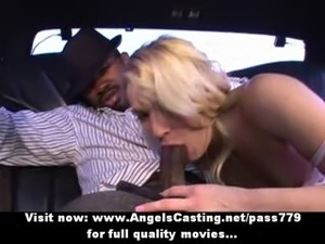 Stunning superb blonde babe with natural small tits doing blowjob