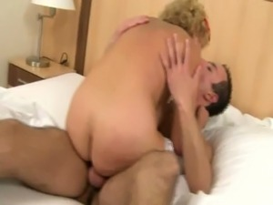 Amateur granny GILF pleasuring young guy with her hairy pussy free
