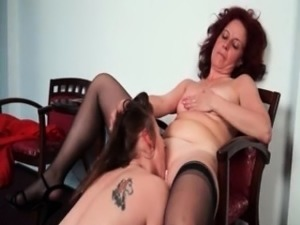 Nasty mature lesbian gets her horny part3