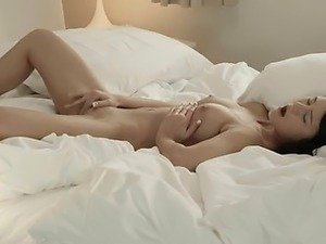 Brunette babe undressing pussy in whtie