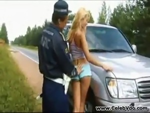 woman bikini police car picture