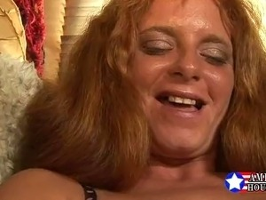 Busty Redhead MILF banged on couch. Nice...