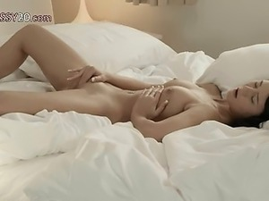 Brunette woman fingering pussy in whtie