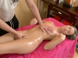 Sexy gal is enjoying every single momeny of her oil massage