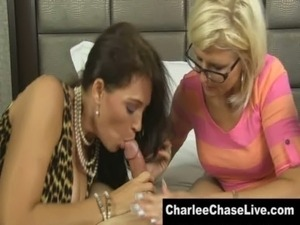 Busty Charlee Chase Shares a Cock with a Nerdy MILF free
