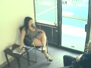 A couple filmed by a security cam is fucking in a waiting room