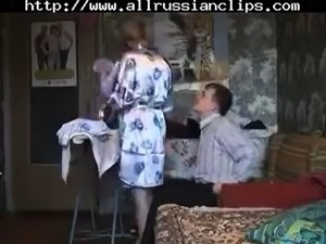 mature russian lady with young man