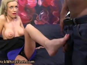 Watch this interracial foot fuck from busty fetish slut