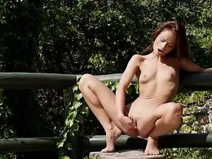 brunette and public fingering pussy
