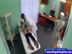 Fake doctor inspects patients pussy free