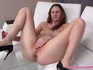 Pissing babe masturbates before orgasm with dildo
