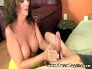 Busty mommy mature giving handjob free