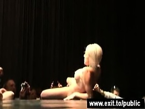 Public Sex Event with blondie fingering for Crowd