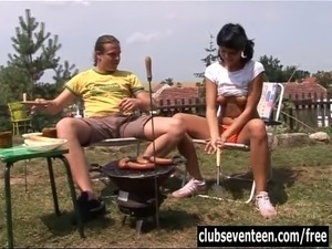Naughty brunette teen girl gets ass fucked and facialized outdoors