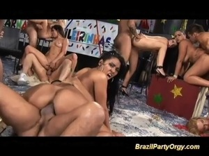 Brazilian babes have their ass screwed in the same time at dancing party with...