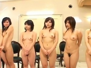 Subtitled Japanese nudist group anus inspection lineup