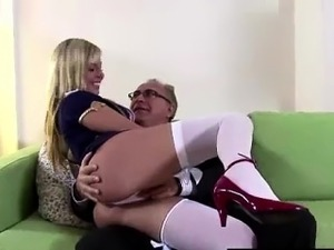 Young blonde wears uniform for older British guy