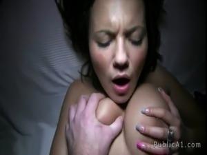 Busty brunette babe flashing boobs in dark alley free