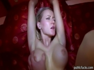 young blonde masterbating in public bathroom