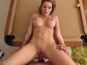 Busty MILF Courtney Cummz Gets Fucked On A Pool Table!
