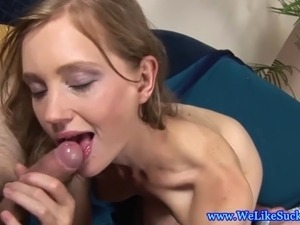 Blowjob loving bimbo amateur sucks dick and she cant get enough
