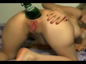 coke bottle inserted in pussy