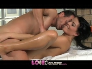 girl spitts cum inside another pussy