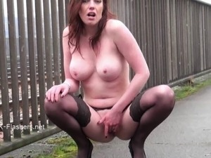 Exhibitionist housewifes public flashing of naughty masturbating voyeur...