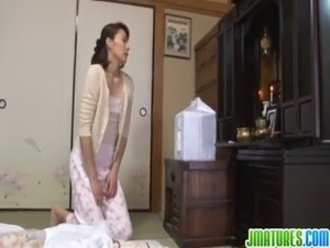 mature japanese in nylon tubes