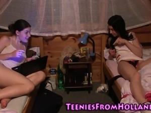 Teen babes shower finger and lick out in high def