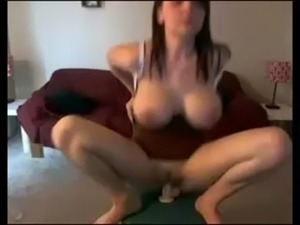 Hot brunette chick with big tits fucks dildo free