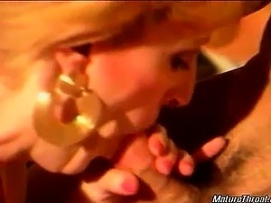 Nasty and horny blonde mature slut with big tits gives hot