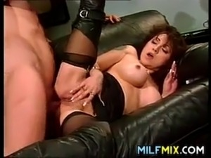 Naughty mother sucks and tries to handle a large cock