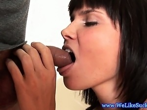 Blowjob loving brunette jerks dick