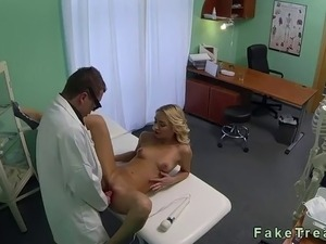 Doctor vibrates beautiful pussy of sexy blonde patient POV in an office in...