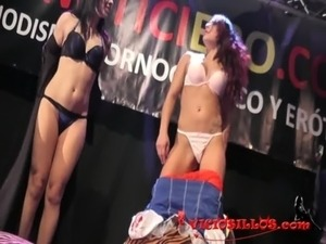 Sara May and Pamela Sanchez lesbian fuck on stage with public by...