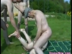 nude blonde girl being whipped outside