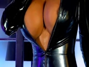 Latex huge tits